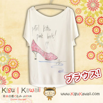 New Pink Heels Fashionable Loose and High Quality Spring and Summer Tshirt Free Size KK538