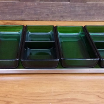 Vintage Mid Century Condiment Relish Glass Tray with Teak Handles and Green Glass Rectangle Bowls