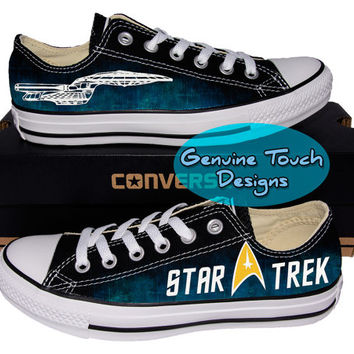 Custom Converse, Star Trek, Trekky, Galaxy Fanart shoes, Custom Chucks, painted shoes, personalized converse low tops