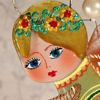 Handmade ANGEL OF HAPPINESS glass fusing techniques newborn gift lovers mothers guardian amulet talisman