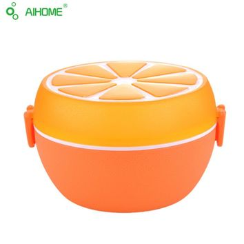 NEW!2 Layer Lemon Orange Pattern Food Container with Fork Plastic Lunch Tableware Microwave Dinnerware 800ML