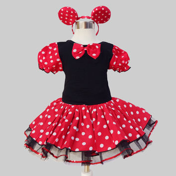 Baby Girls Clothes Baby Girls Dress Kid's Clothing Mickey Mouse Cartoon Style  Ballet Dance Summer dress with headwear