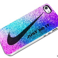 DCD - Just Do It Nike Pink Look Like Glitter Custom Case for Iphone 4 4s 5 5c 6 6plus (Iphone 5c white)