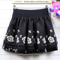 Mesh Lace Floral Pleated Skirt
