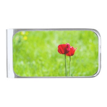 Two red tulip flowers silver finish money clip