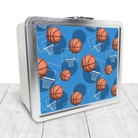 Blue Basketball Lunch Box - Sports Basketball Pattern on Blue, Tin School Lunch Art Craft Supplies Box, Chalkboard inside - Made to Order