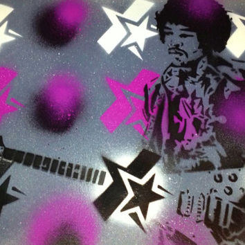 painting of jimi hendrix,star spangled,stencils & spraypaints on quality watercolour paper.27 club,rock,electric,guitar,woodstock