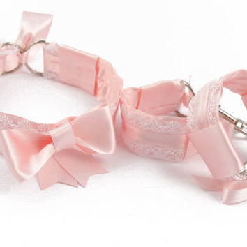 DDLG bdsm bondage kit - bondage set in baby pink satin and adorable white trim. Little princess bdsm gift set perfect for abdl or pet play