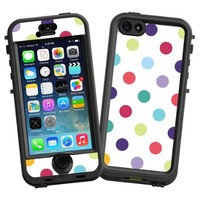 """Polka Dot Explosion on White """"Protective Decal Skin"""" for LifeProof nuud iPhone 5s Case"""