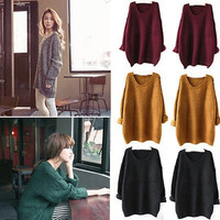 2015 Women Oversized Knitted Sweater Batwing Sleeve Tops Pullover Coat Loose Outwear