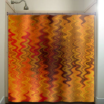 Fire Tapestry Flame Orange Brown Chevron Shower Curtain Bathroom Decor Fabric Kids Bath White Black Custom