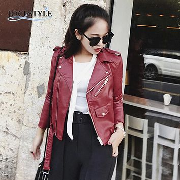 Womens Cool Sexy Leather Jacket Winter Slim Biker Motorcycle PU Leather Jacket Zipper Coat Black/yellow/burgundy/blue/pink