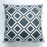 "Dark Teal Blue Geometric Diamond Decorative Throw Pillow Cover / Cushion Cover (18""x 18"") / (45cm x 45cm)"