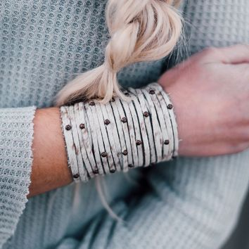 Studded + Sliced Wide Leather Cuff - Ivory Hide
