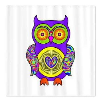 Purple Psychedelic Owl Shower Curtain> Purple Illustration Gifts> Hippy Gift Shop Funky Hippie Gifts