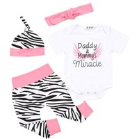 Daddy & Mommy's Miracle Printed Infant Bodysuit Baby Romper 4pc Set