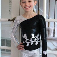 Black and Silver Leotard with Bird 2t, 3t, 4t, 5t, 6, 7, 8, 9, 10, 11, 12, 13, 14