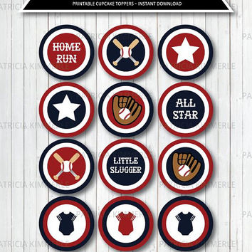 Printable Cupcake Toppers, Baseball, Sports Theme, Birthday, Party Decorations, DIY, All Star, Baby Shower, Coach INSTANT DOWNLOAD