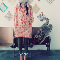Wait For Me Under The Sunflowers Vintage Ladies Tunic Dress Size Large, Gift for Her, Casual and Classic in a Dusty Rose