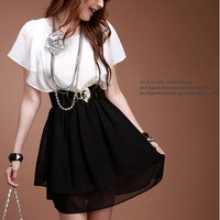 Korean Style Elegant and Decent Lotus Leaf Sleeve Dress For Female - Sammydress.com