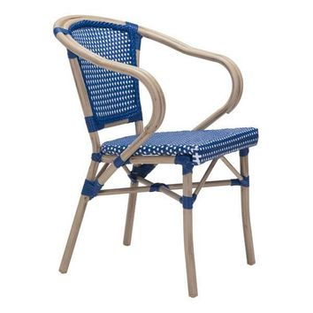 Paris Dining Arm Chair Navy Blue & White (Set Of 2)