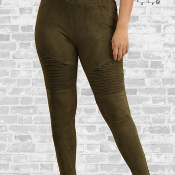 c75dee5a73862 Suede Moto Leggings - Olive - XL or 1X only