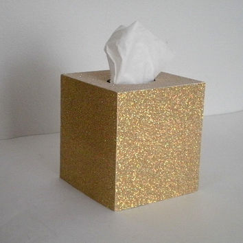 GOLD GLITTER Tissue Box Cover - Sparkling Decorative Square Cover