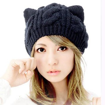 Hot Selling Hat Winter Cute Cat Ears Design women's winter knitted hats New Fashion Hemp Flowers Knitted Hat For Christmas Gift