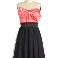 ModCloth 80s Mid-length Strapless A-line Art Gallery Gala Dress