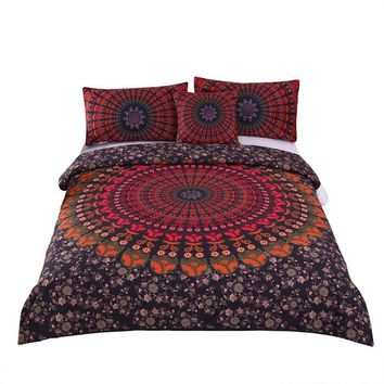 Red Geometric Bedding Set (Super Soft Duvet Cover with Pillowcases)