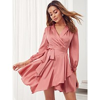 SHEIN Shawl Collar Self Belted Asymmetrical Hem Wrap Satin Dress