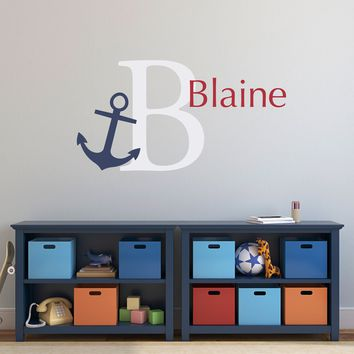 Anchor Initial Name Wall Decal Set - Preppy Wall Decal - Nautical Wall Art - Personalized Name - Large