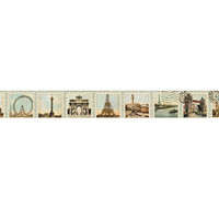 Paris Stamps Washi Tape  - Super Long  - 50 Feet in Length