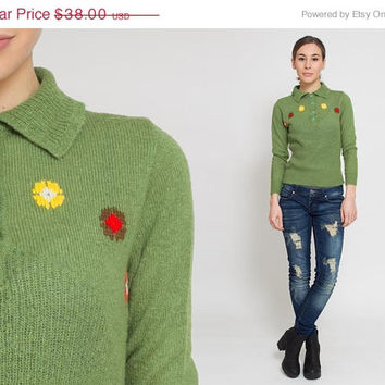 50% OFF SALE 1960's Green Sweater - Vintage 1970's Floral Red Knit Pullover Mod Babydoll 60s Mad Men Polo  Boho Preppy Top Yellow Jumper Siz