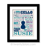 Cello Typography Wall Art - Choose Any Colors - twenty3stars