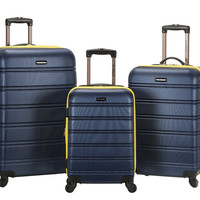 F160-NAVY Melbourne 3 Pc Abs Luggage Set