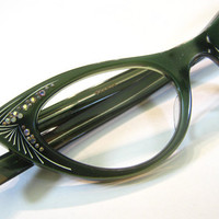 French 50's Green Rhinestone Cat Eye Frames Eyeglasses Eyeglass France Vintage