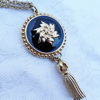 Large Vintage Pendant Enamel Tassel Necklace