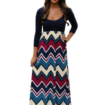 Chevron Print Quarter Sleeve Empire Waist Navy Blue Chevon Maxi Dress On Sale