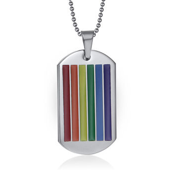 Men Rainbow Dog Tag Pendant Necklace for Woman Stainless Steel Choker Gay and Lesbian LGBT Pride Jewelry Parade Demonstration