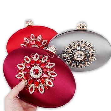 Women Satin Silk Flowers Party Wedding Bridal Shoulder Handbags Purses Metal Clutches Evening Clutch Bags