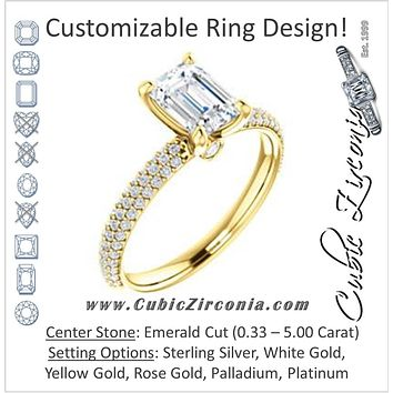 Cubic Zirconia Engagement Ring- The Merari (Customizable Emerald Cut with Three-sided Triple Pavé Band & Twin Bezel Peekaboo Accents)