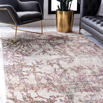 0140 Beige Branches Design Distressed Contemporary Area Rugs