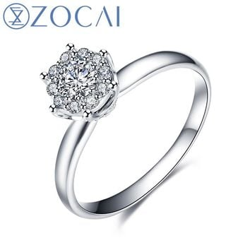 ZOCAI Ring Cluster Setting Real 0.38 CT Certified H SI Round Cut eb13726370