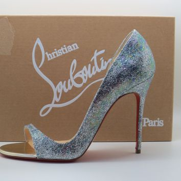 Christian Louboutin Silver Toboggan 100 Glitter Disco Pumps Shoes 37.5