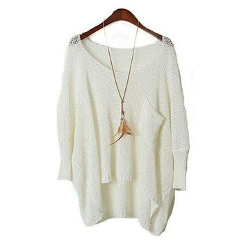 DCCKBA7 MM low round collar pullovers female bats sleeve hollow-out sweater smock