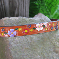 """The """"Little flowers"""" leather dog collar..genuine leather hand painted, hand stamped, adjustable collar made to order"""