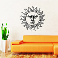 Sun Wall Decal Moon Crescent Ethnical Stars Symbol Wall Decals Vinyl Sticker Interior Home Decor Vinyl Art Wall Decor Bedroom SV5872