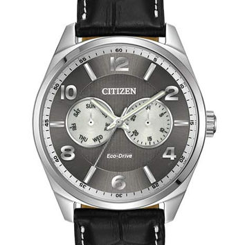Citizen Eco-Drive Mens Analog Day/Date Watch - Stainless Steel - Black Dial