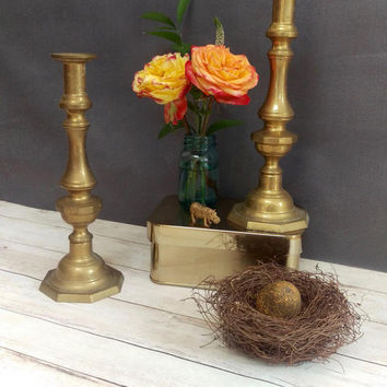 Brass Candlestick Holders/ Brass Candlesticks/ Tall Brass Candlestick Holders/ Large Brass Candle Holders/ Wedding Centerpiece/ Candlesticks